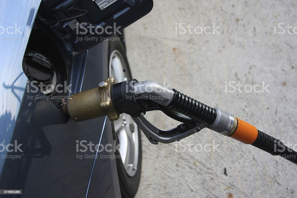 Car with LPG-gear by gas up royalty-free stock photo