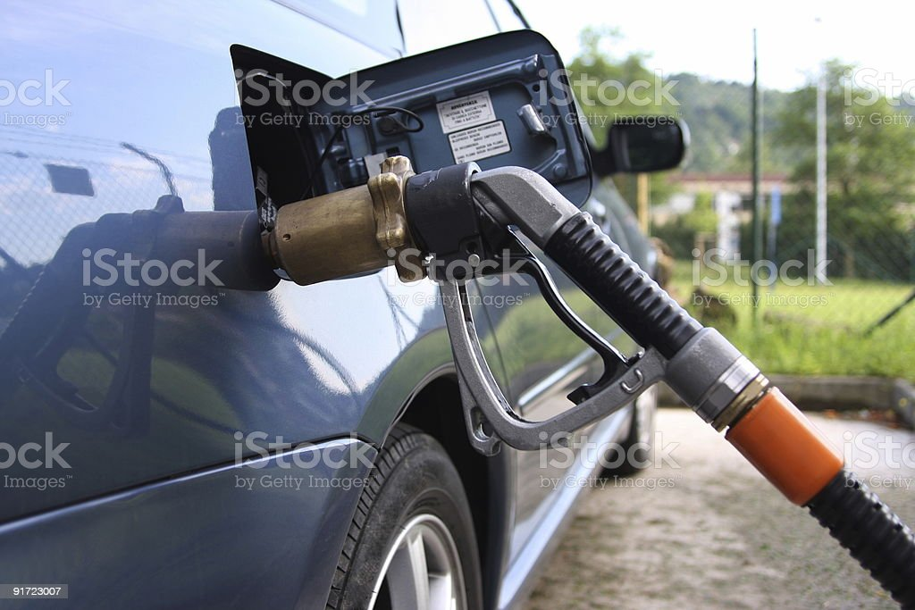 Car with LPG-gear by gas up stock photo
