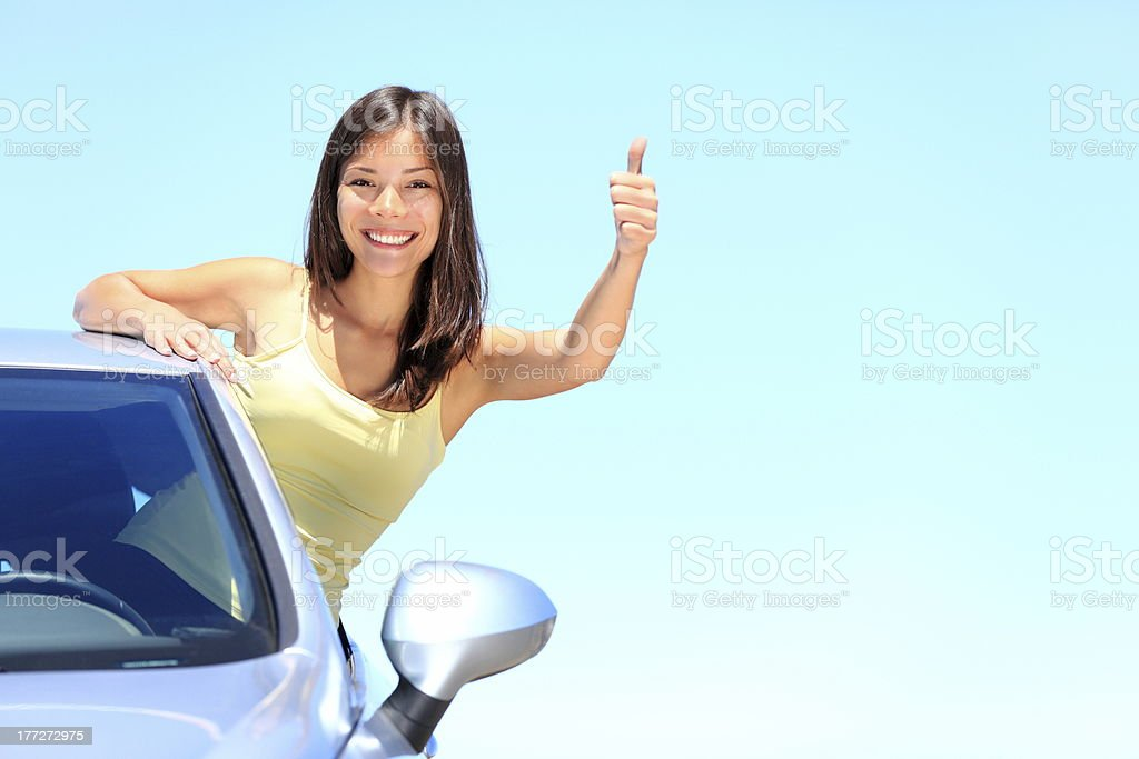 Car woman driver happy royalty-free stock photo
