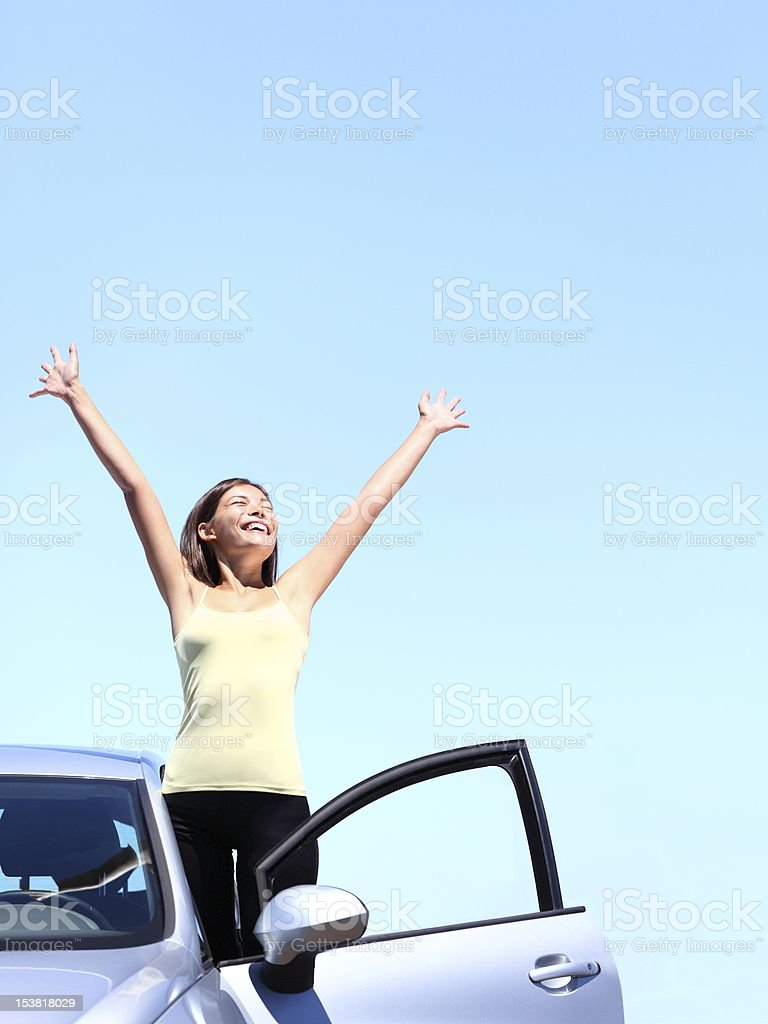 Car woman happy freedom stock photo