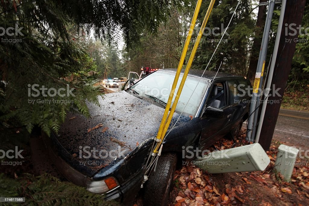 Car Wreck Tow Truck and Traffic stock photo