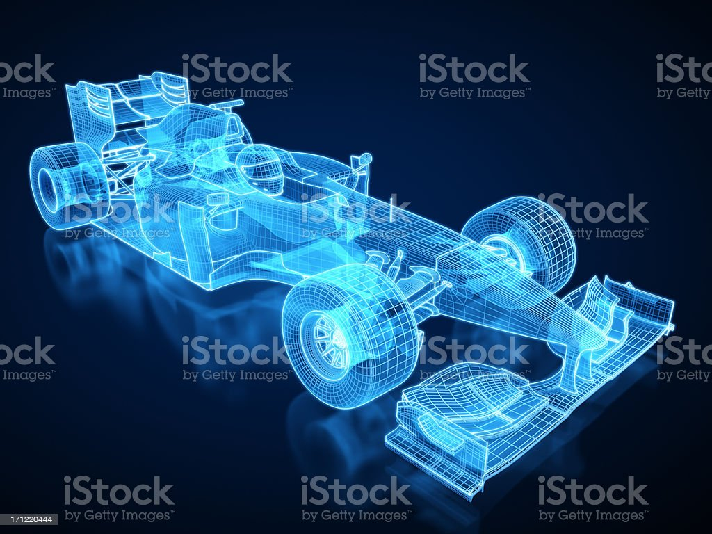 F1 Car X-ray / Blueprint - with clipping path royalty-free stock photo