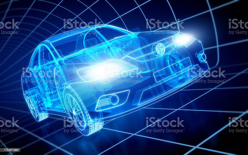 Car X-ray / Blueprint - with clipping path stock photo