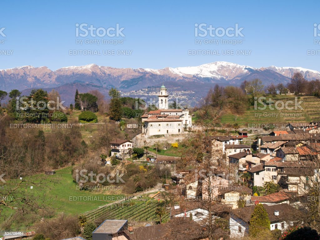 Carabbia, panoramic view of the hill stock photo