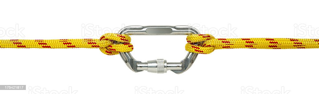 Carabiner Clip and Climbing Rope Isolated on White stock photo