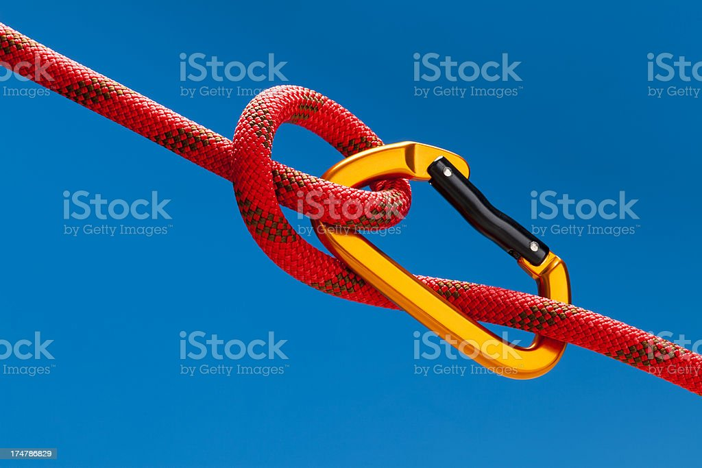 Carabiner on rope royalty-free stock photo