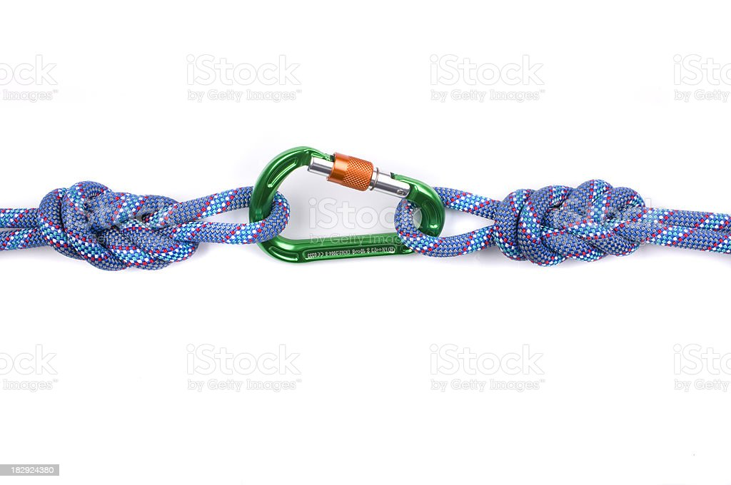 Carabiner with rope isolated on white royalty-free stock photo