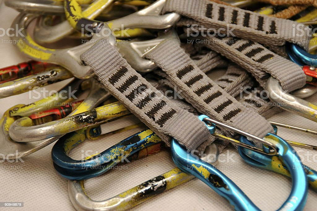 Carabiners and Quickdraws stock photo