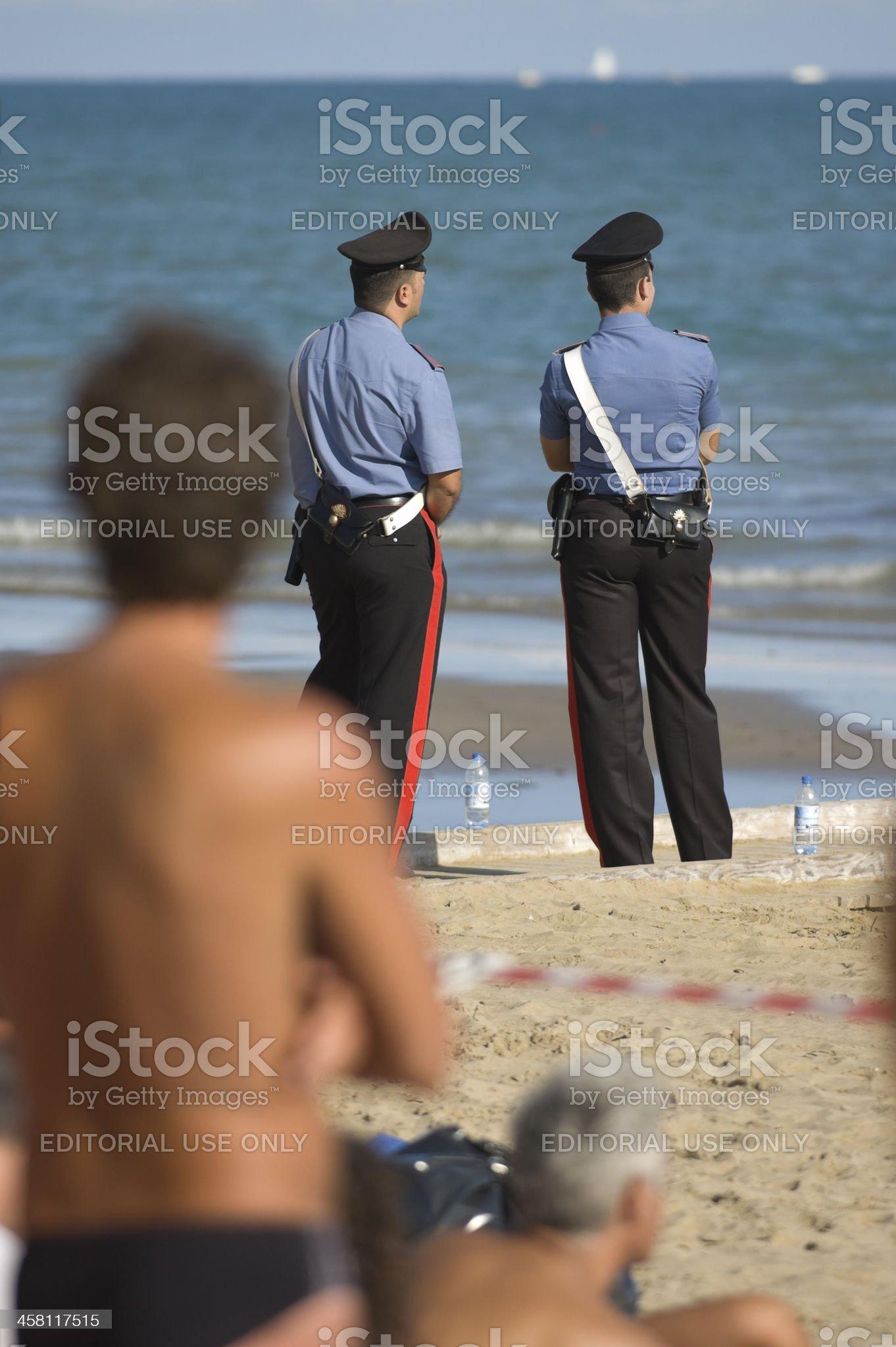 Carabinieri at beach royalty-free stock photo