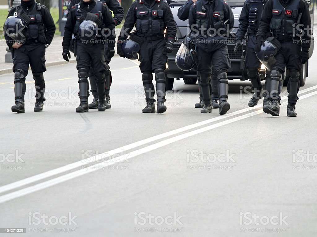 carabinieri patrolling of the city stock photo