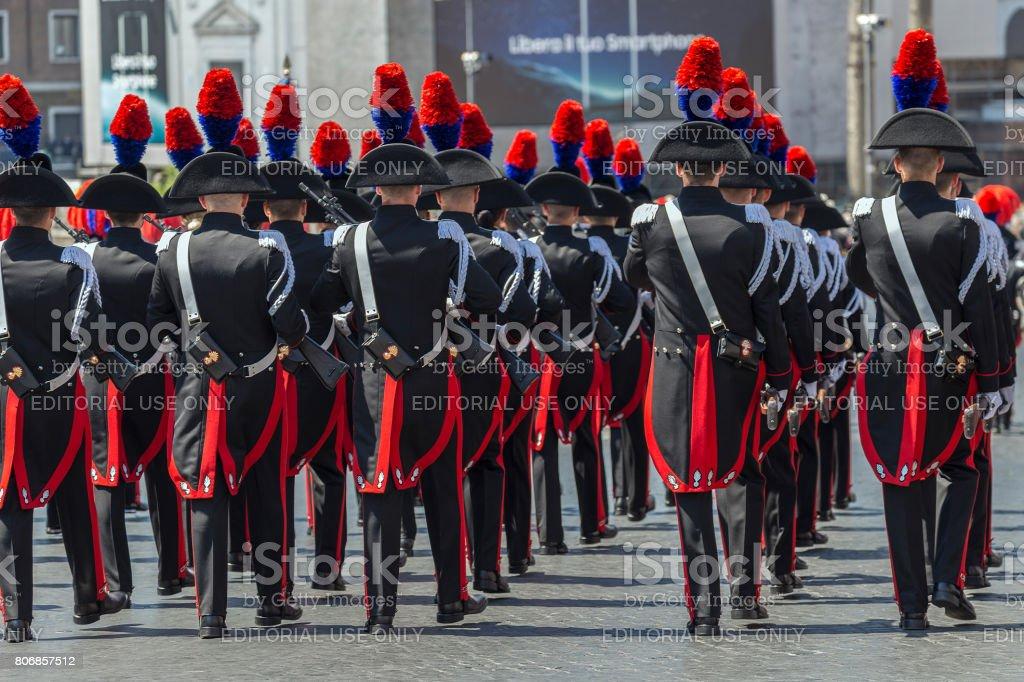 Carabinieri troops participating at military parade of Italian National Day stock photo