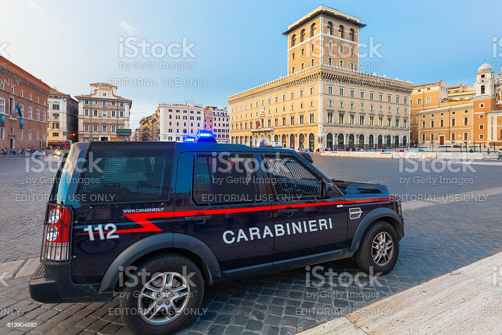 Carabinieri's car parked near in the Piazza Venezia, Rome, Italy. stock photo