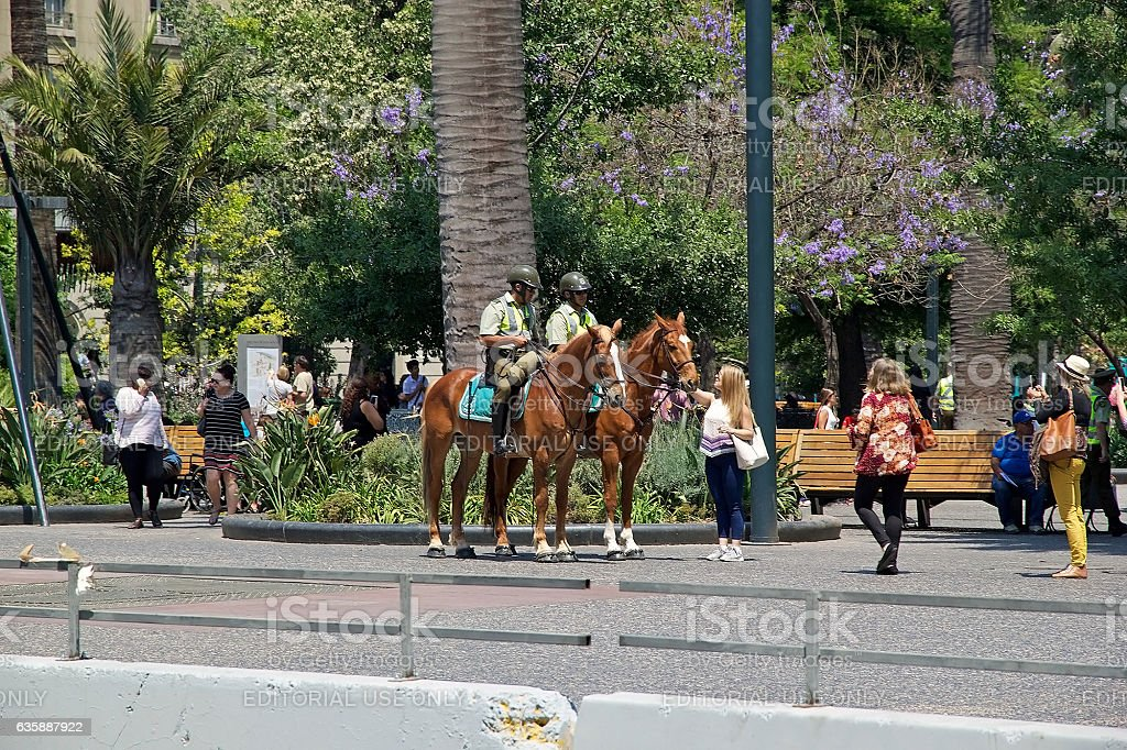 Carabiniers of Chile at Santiago de Chile, Chile stock photo