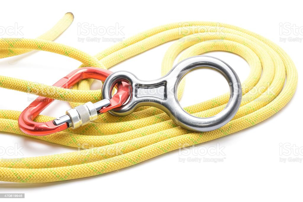 Carabinner rope and figure eight isolated on white stock photo