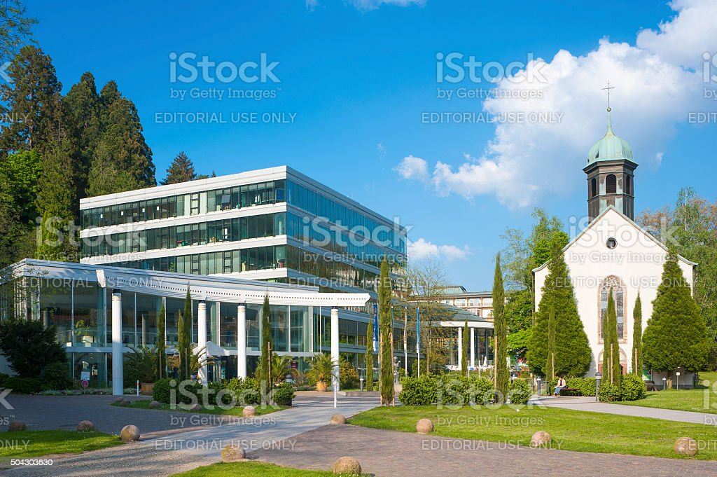 Caracalla-Therme with Spital church in Baden-Baden stock photo