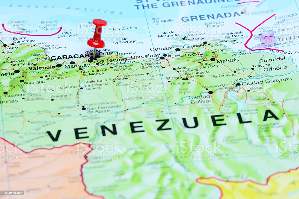 Caracas pinned on a map of America stock photo