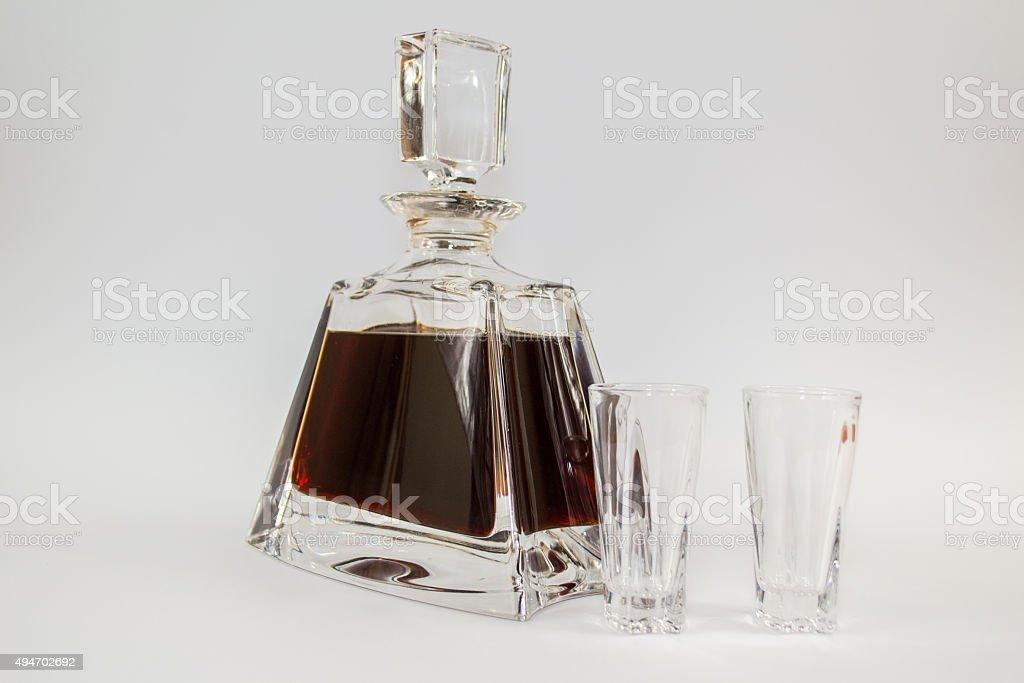 Carafe of cherry liqueur stock photo
