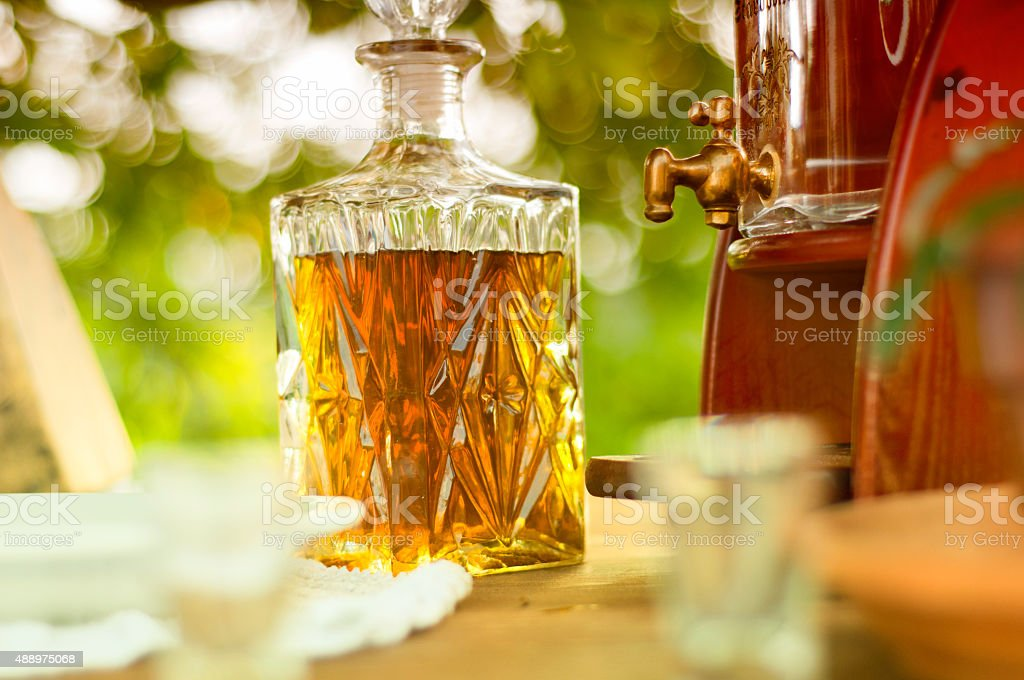 Carafe with alcohol stock photo
