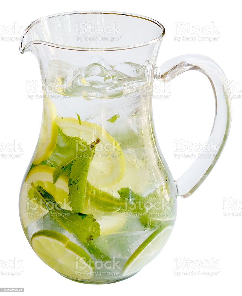 Carafe with lemonade, mint, ice stock photo