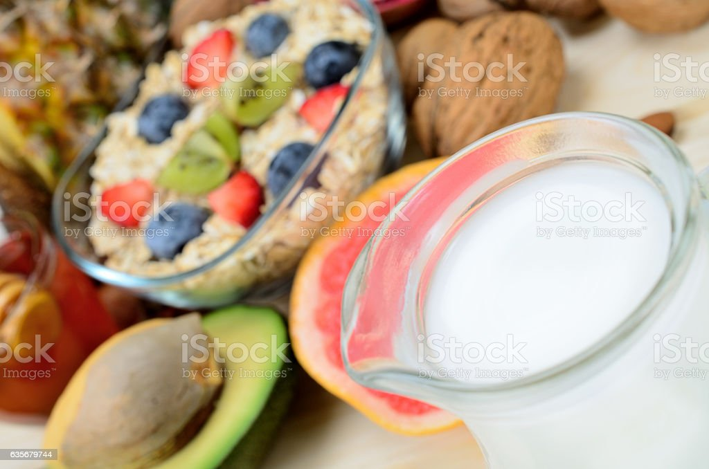 carafe with milk on table stock photo