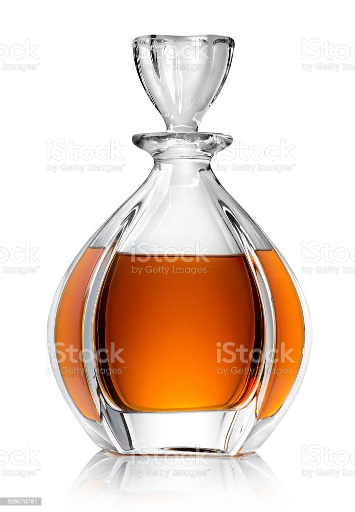 Carafe with whiskey stock photo