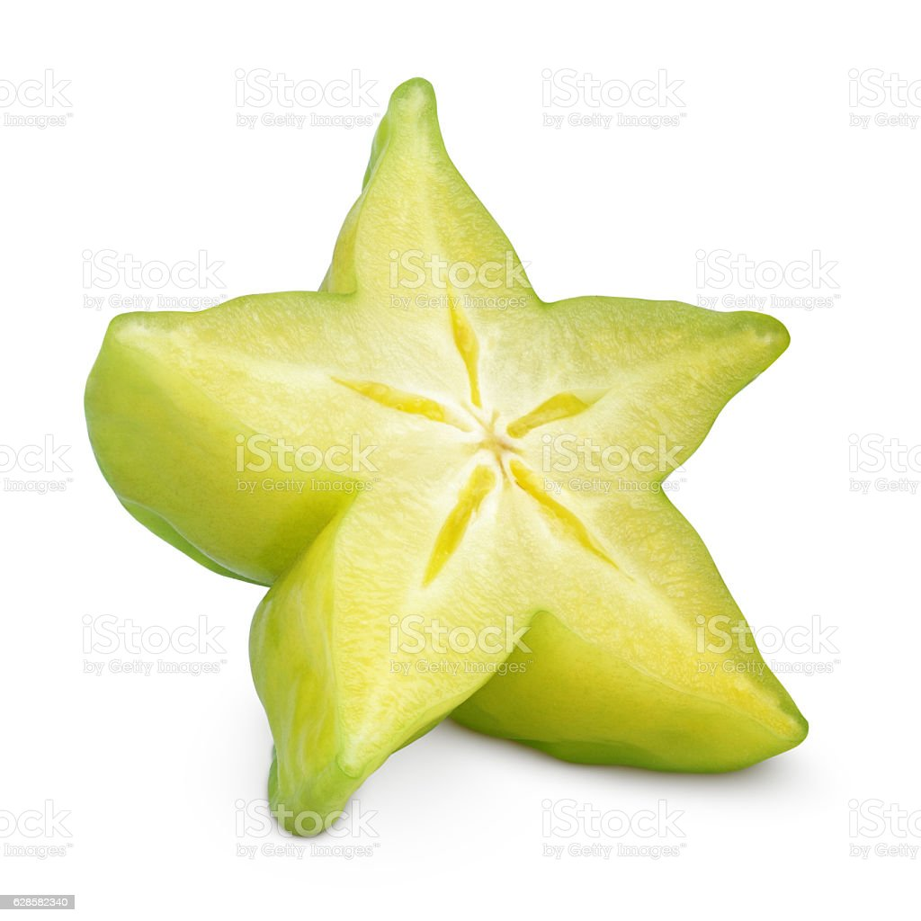 Carambola or starfruit on white stock photo