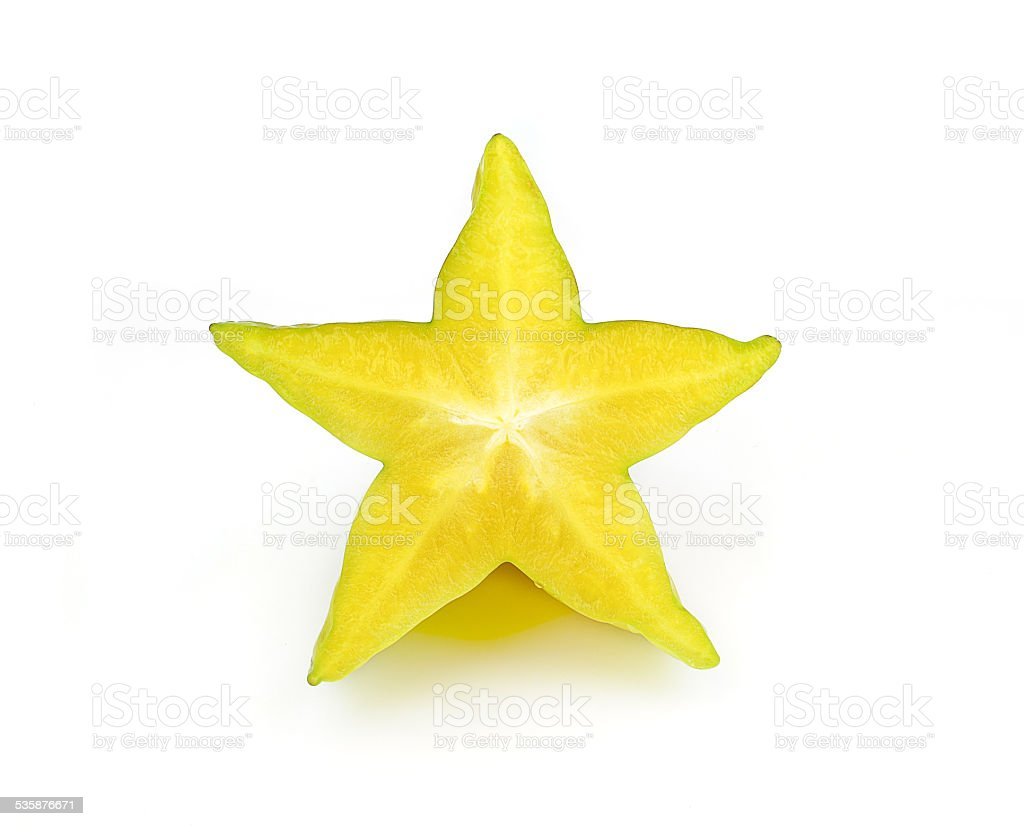 carambola, star fruit isolated on white background stock photo