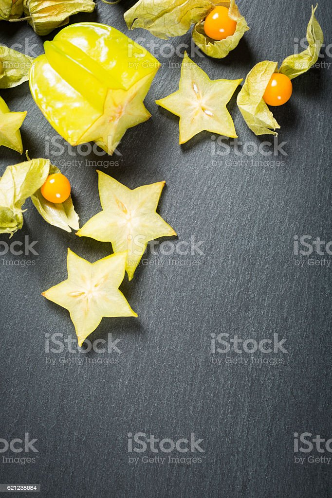 carambola with physalis stock photo