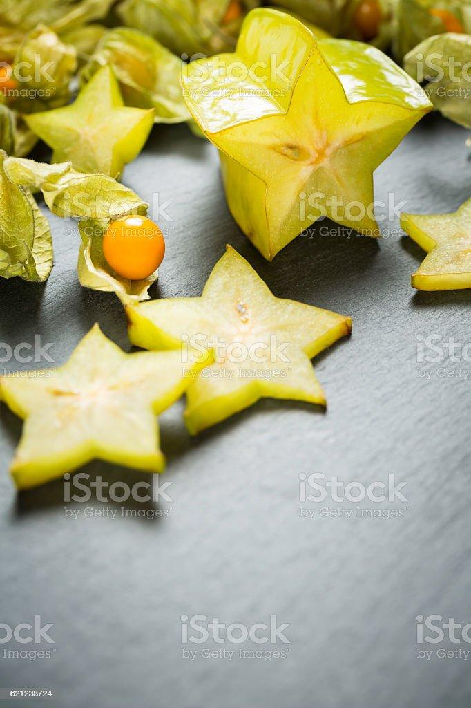 carambola with physalis stock photo