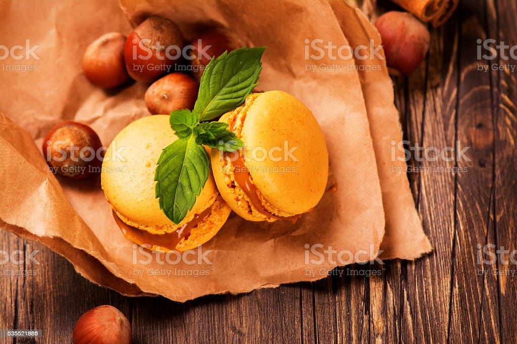 Caramel and cinnamon macaroons stock photo