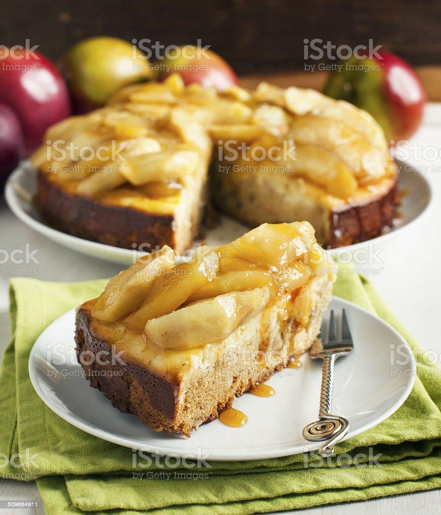 Caramel apple cheesecake pie stock photo