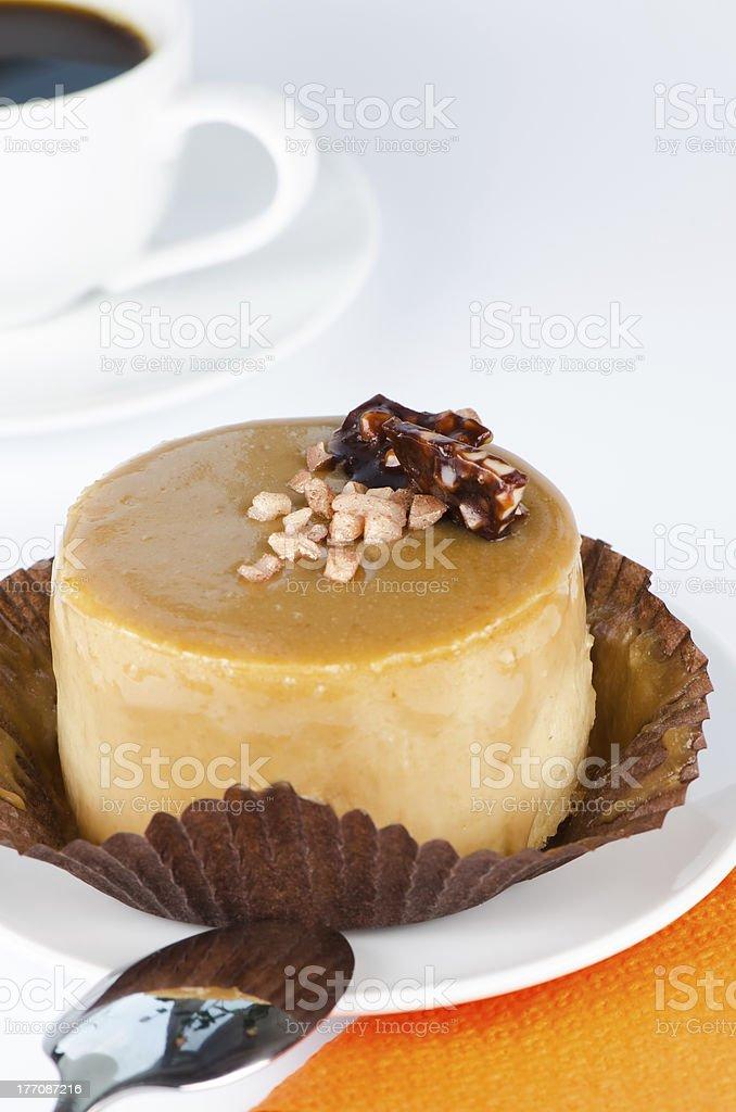 Caramel cake close up stock photo