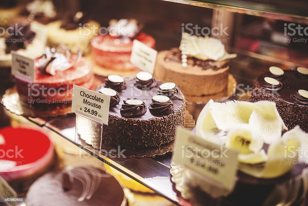 Caramel cake on a shop lightbox royalty-free stock photo