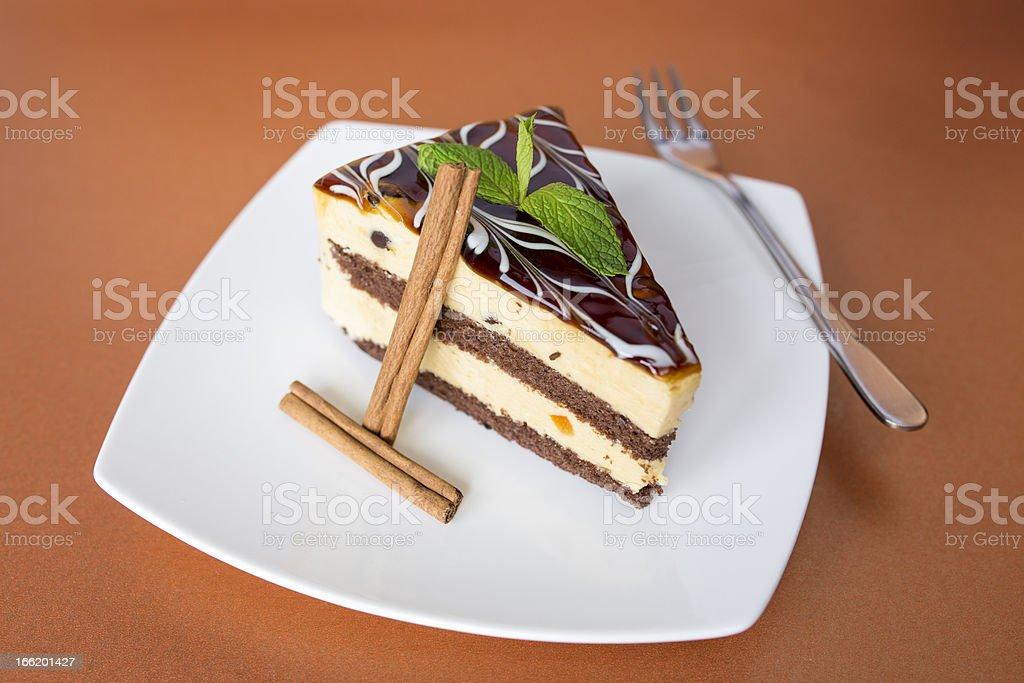 Caramel cake with cinnamon royalty-free stock photo