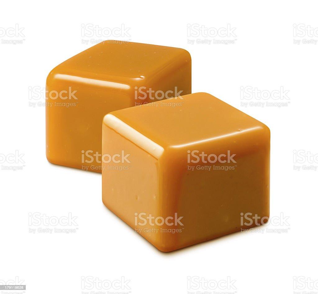 Caramel Candy isolated on white stock photo