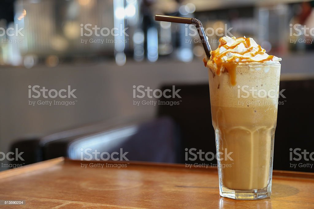 Caramel Cappuccino frappe coffee stock photo