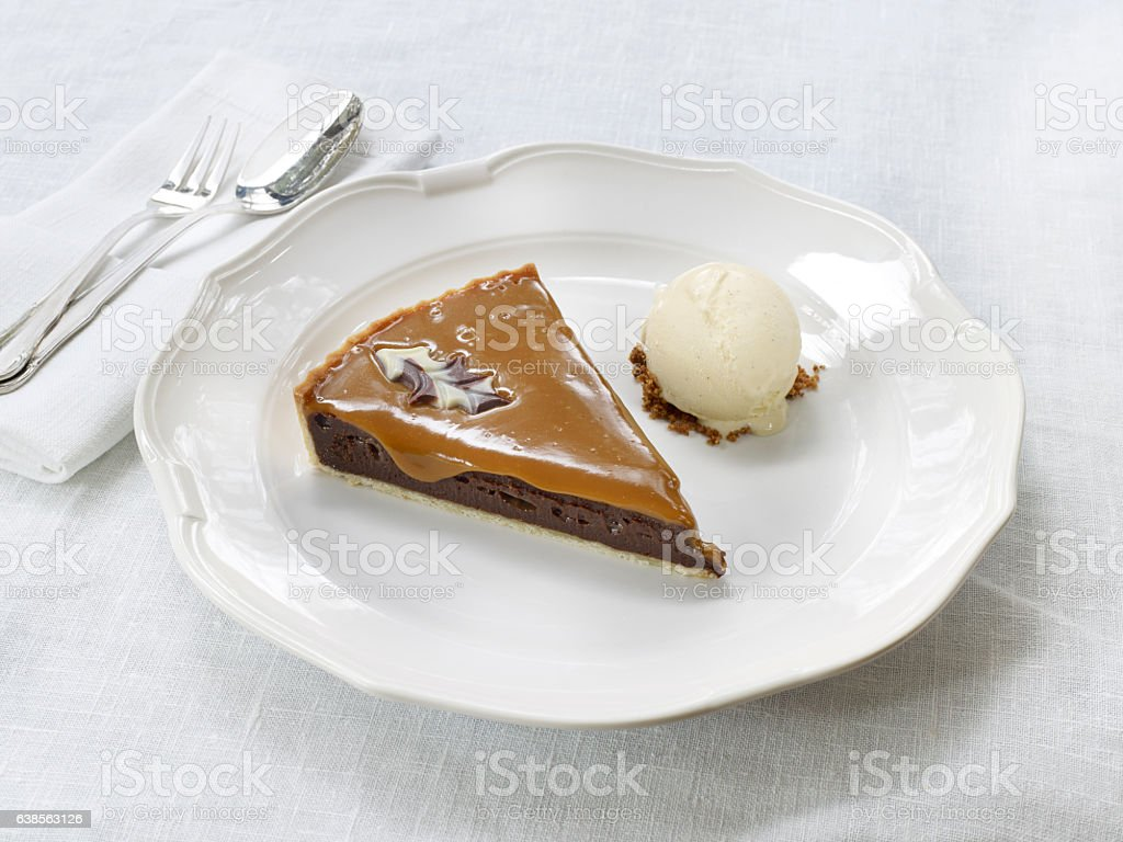 Caramel cheesecake and ice cream stock photo