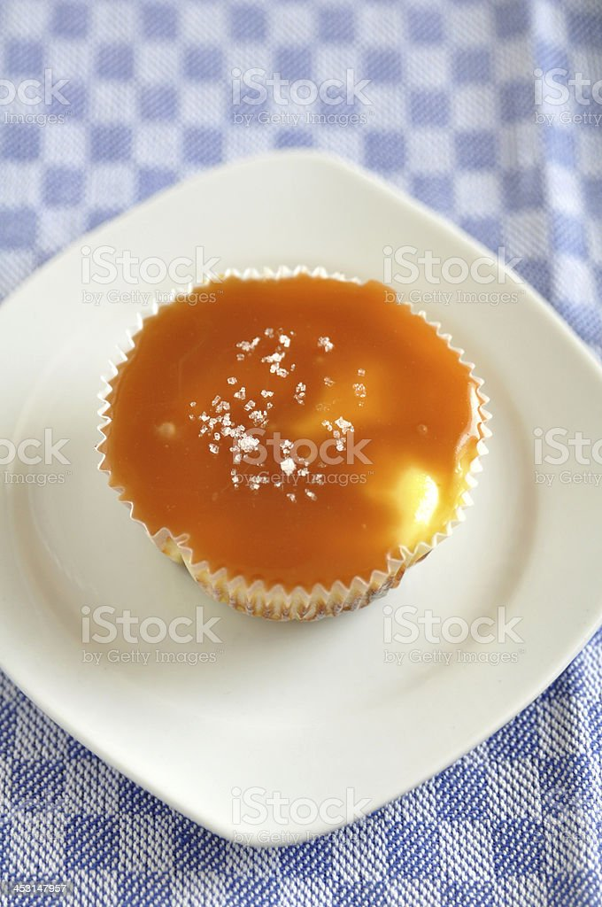 Caramel Cheesecake with fleur de sel royalty-free stock photo