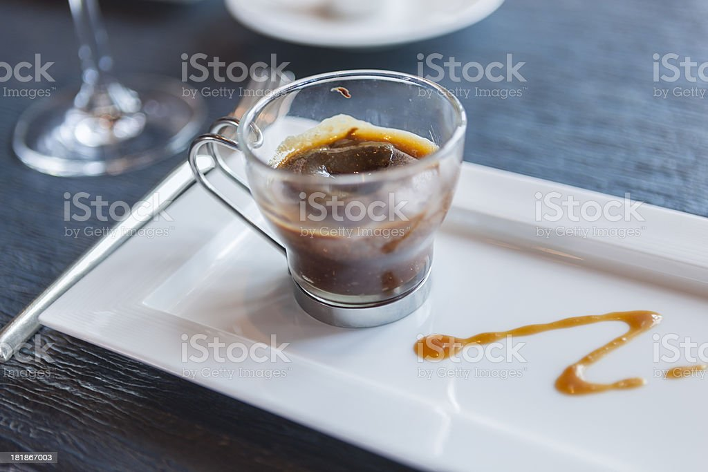 Caramel & chocolate souffle with extra sauce on the side royalty-free stock photo