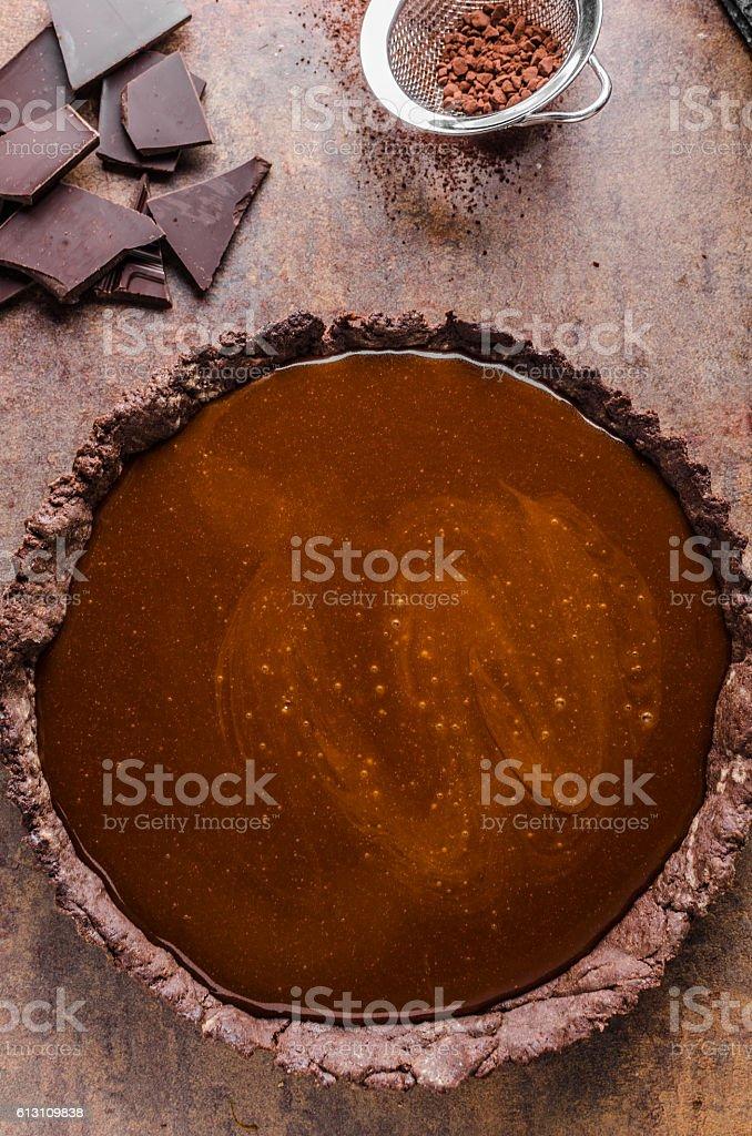 Caramel chocolate tart stock photo