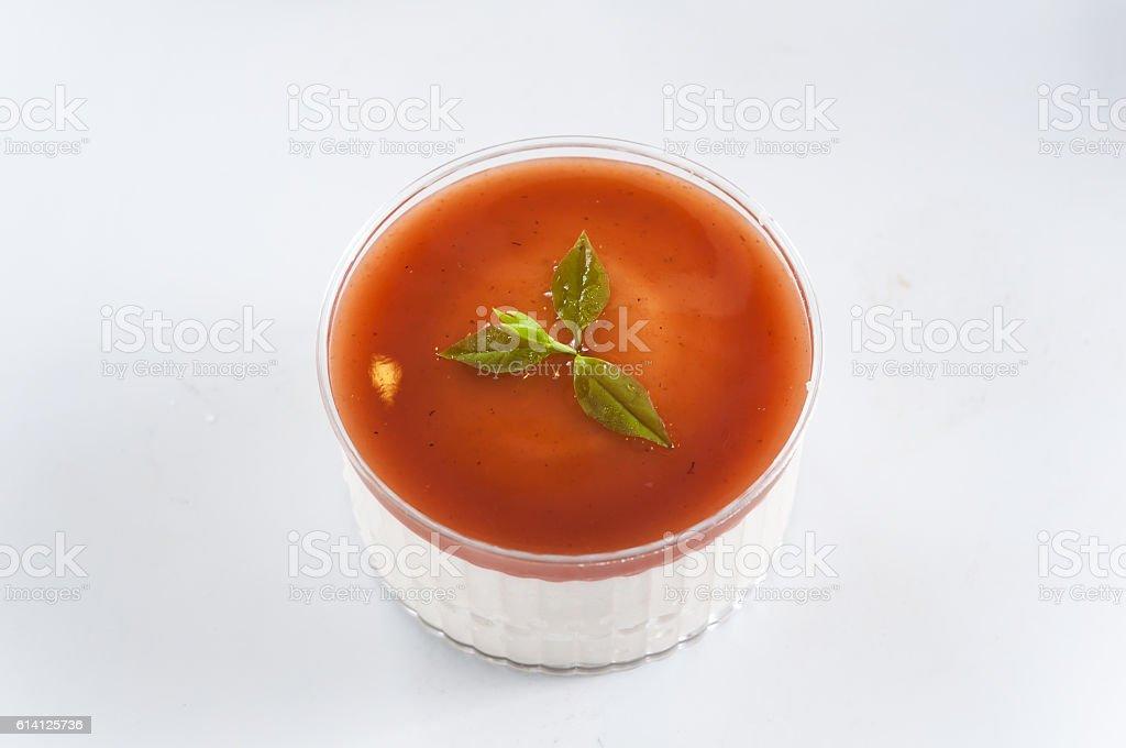 Caramel custard pudding in white plate stock photo