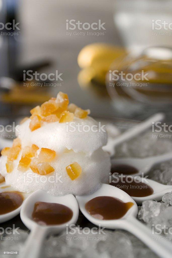 Caramel flower preparation stock photo
