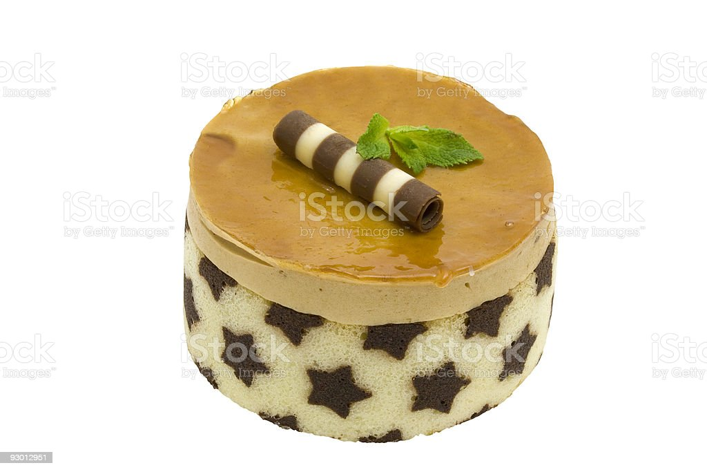 Caramel mousse cake royalty-free stock photo