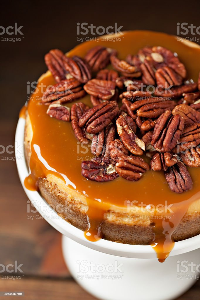 Caramel Pecan Cheesecake stock photo