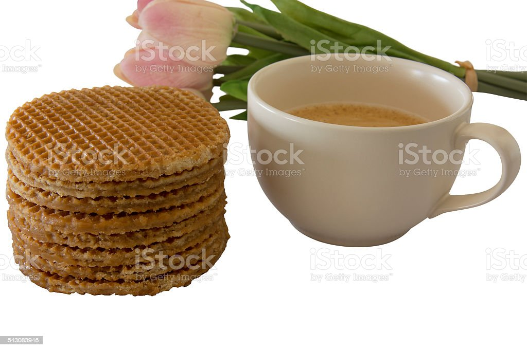 Caramel Stroopwafels and Coffee stock photo