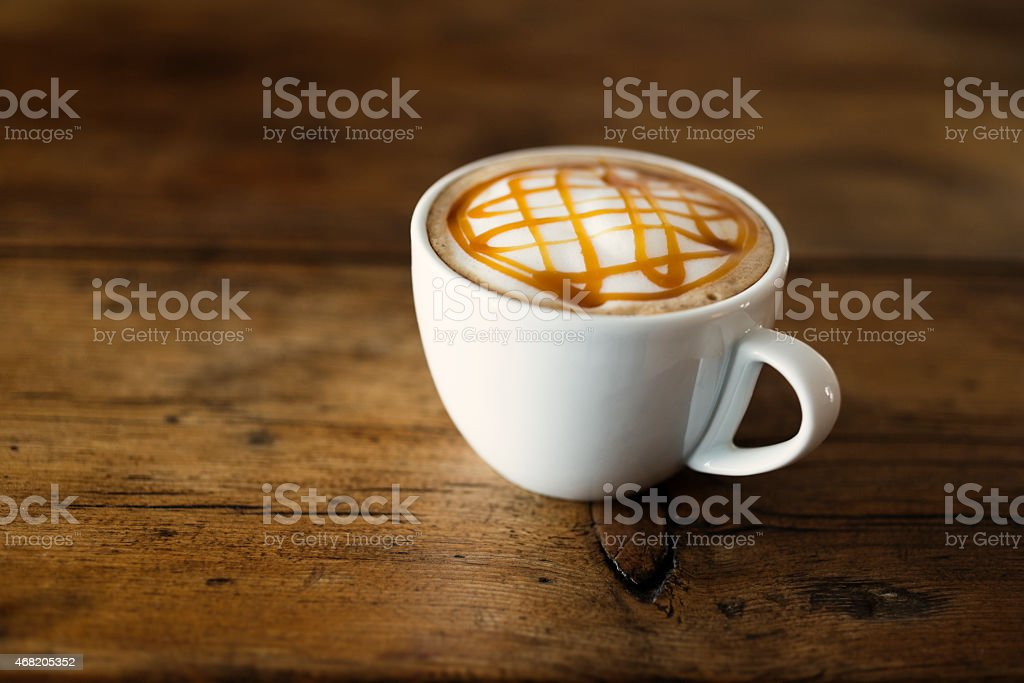 Caramel topped Coffee stock photo
