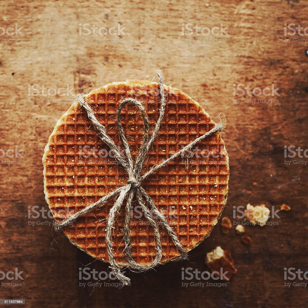 Caramel waffles tied up with jute bow stock photo