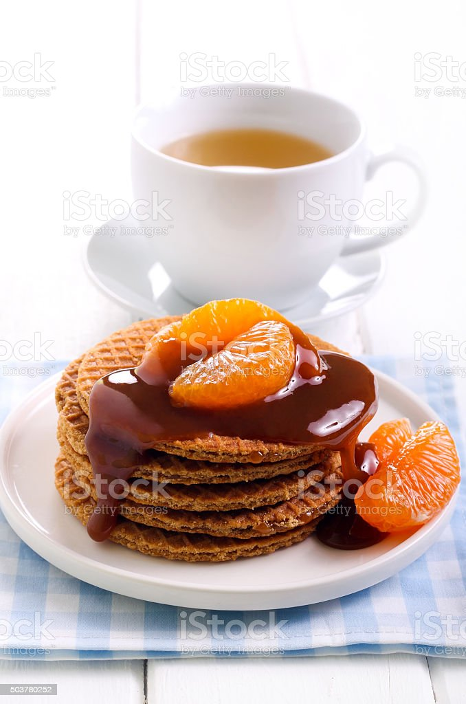 Caramel waffles with caramel topping stock photo