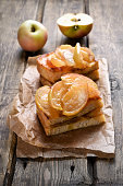 Caramelized apples on toast bread
