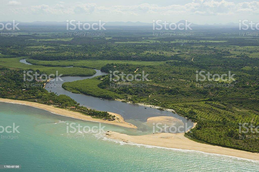 Caraíva river-mouth Bahia, Brazil stock photo
